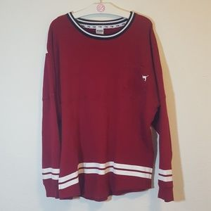 PINK Victoria's Secret Tops - VS PINK L Deep Red Logo Crewneck Sweater